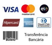 Aceitamos todos os cartões de crédito e boleto bancário